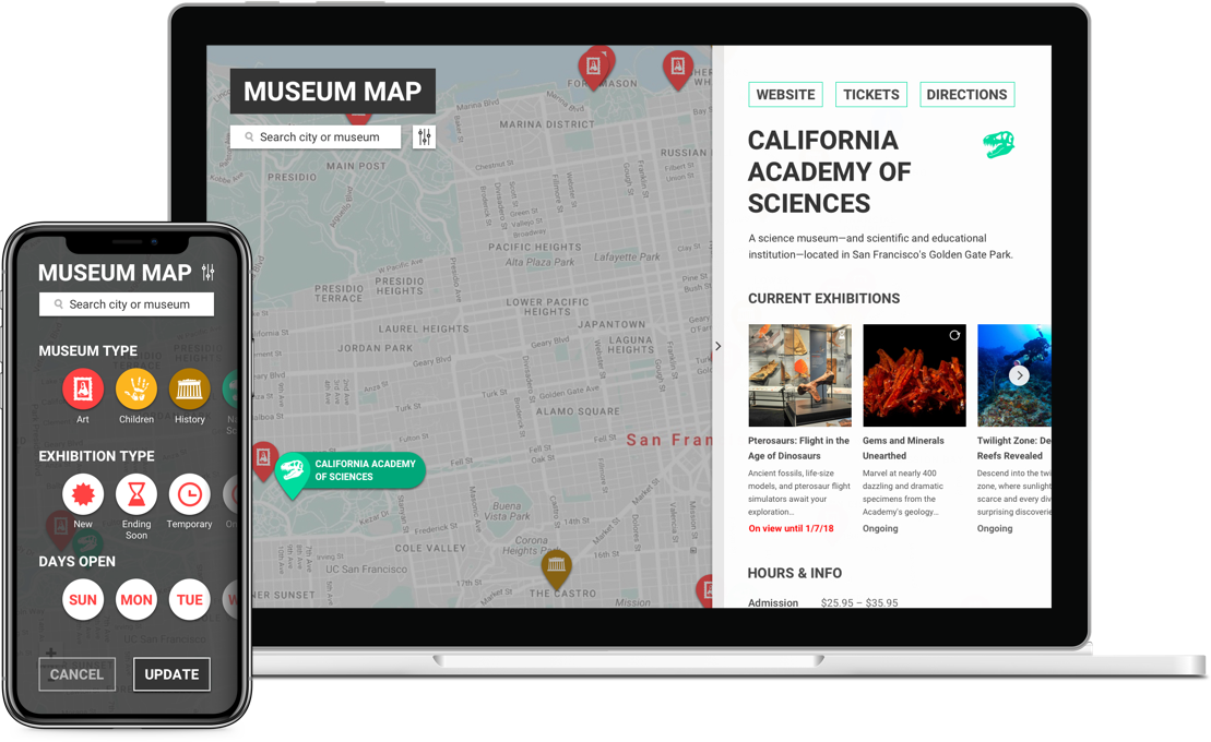 Preview of Museum Map web app and mobile version